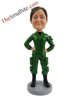 Green military uniform woman 2506
